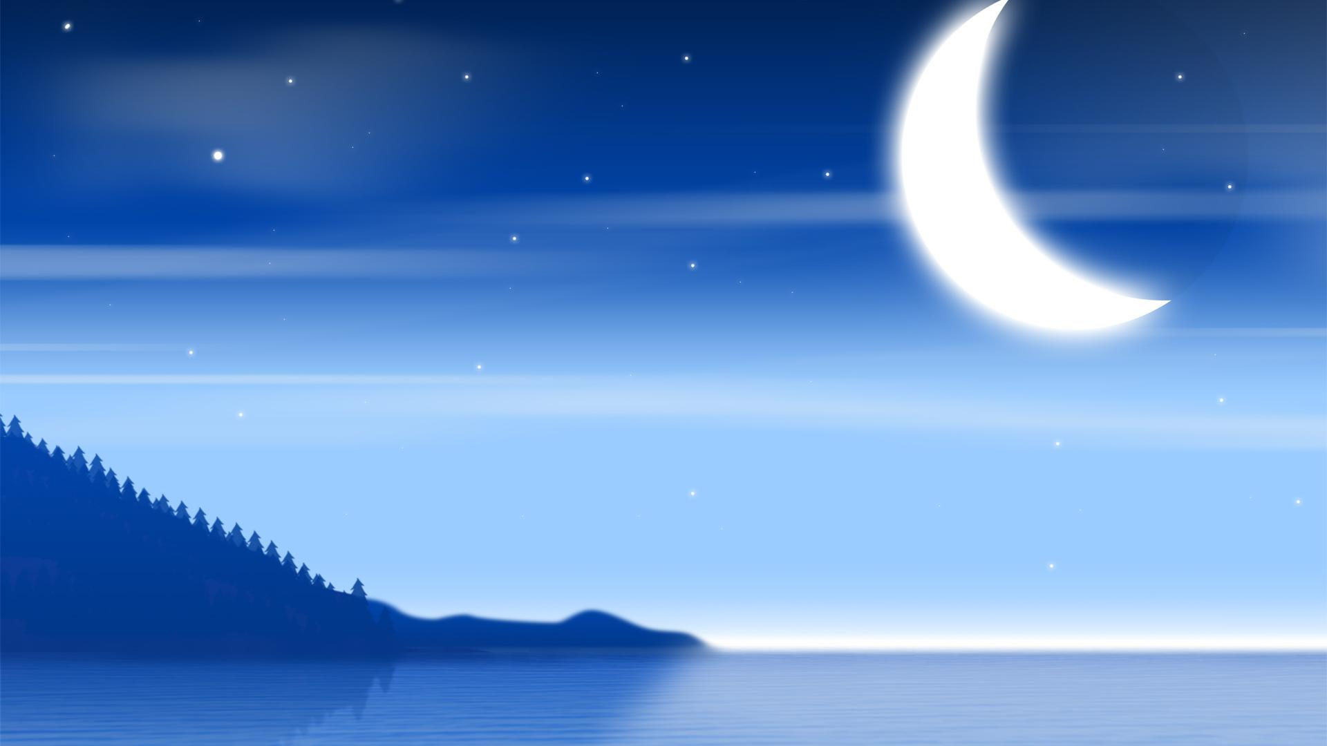 1920x1080 Blue Night Sky And Sea Desktop Backgrounds Wide Wallpapers