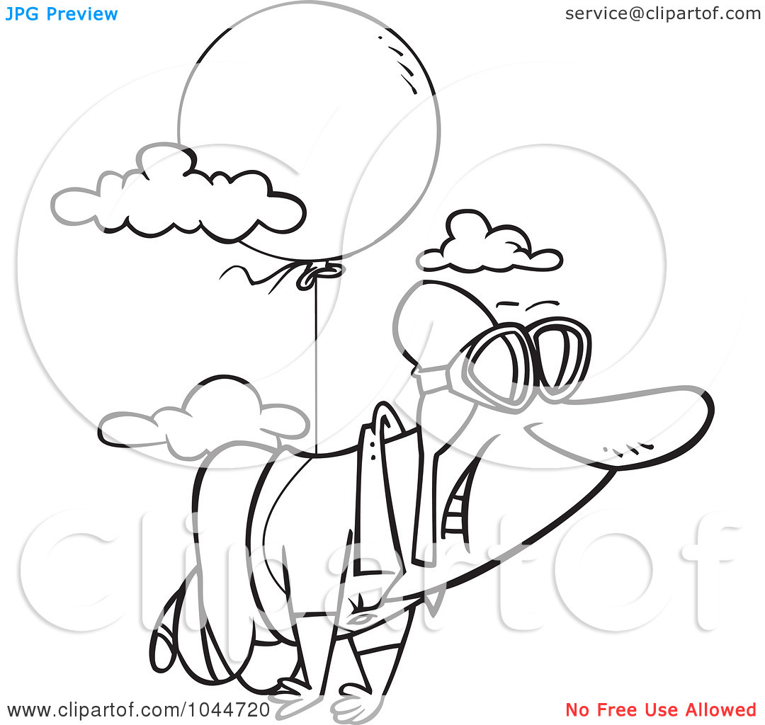 Black And White Outline Design Of A Man Floating Through The Sky With
