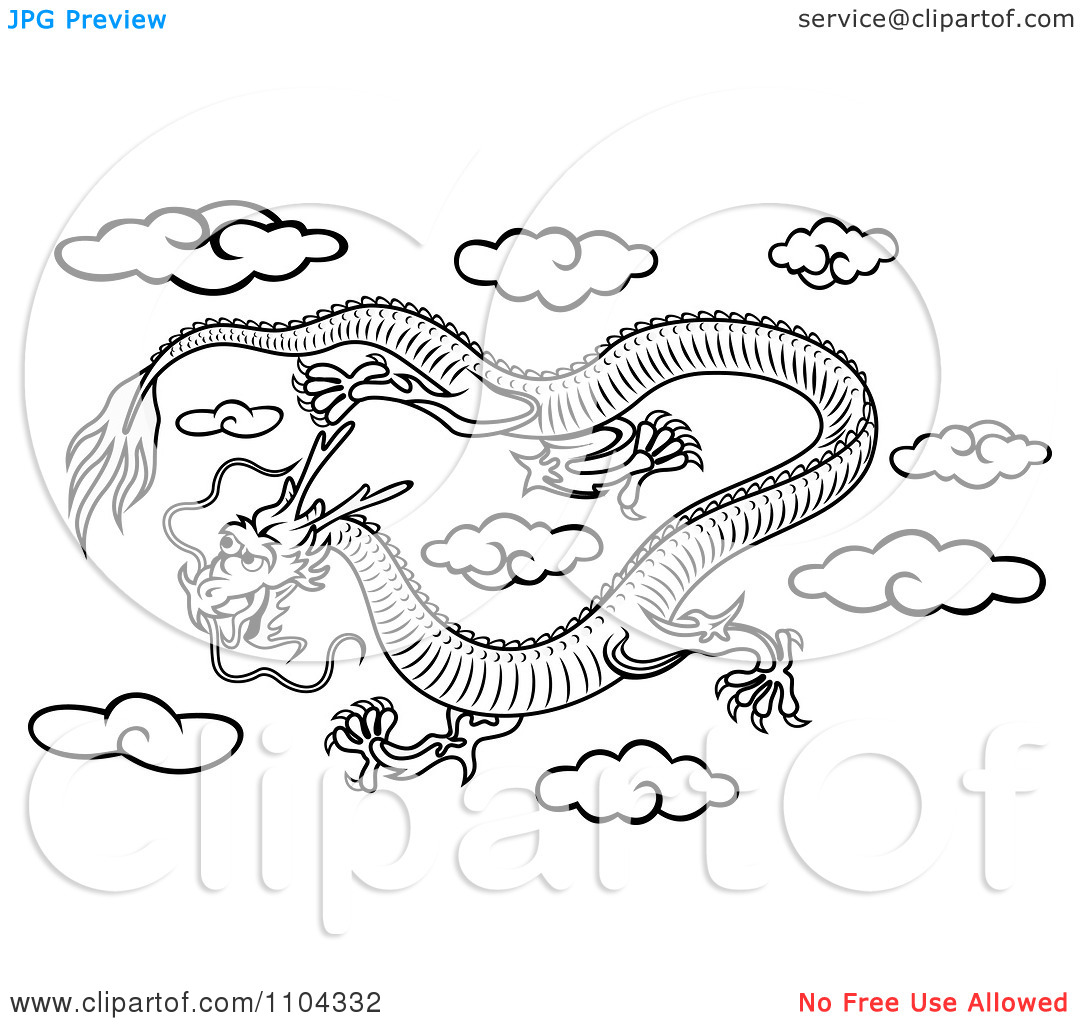 Clipart Black And White Chinese Dragon Flying In The Sky Royalty