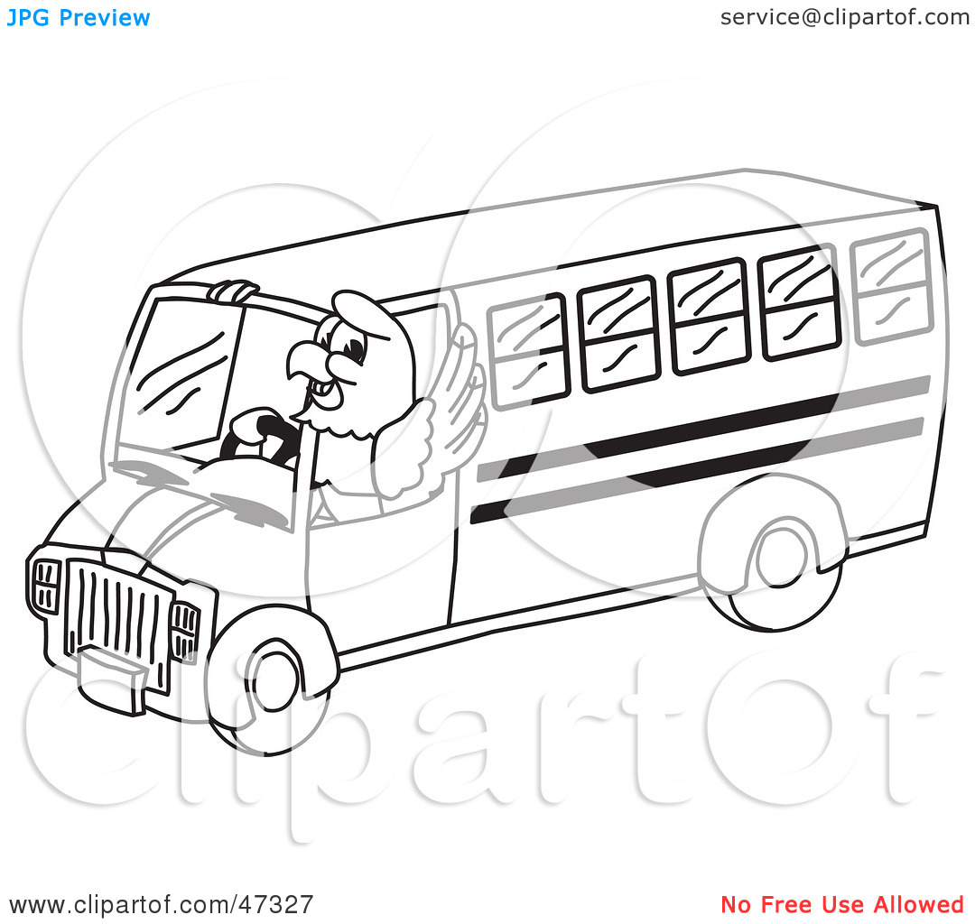 Clipart Illustration Of A Bald Eagle Hawk Or Falcon Bus Driver Outline