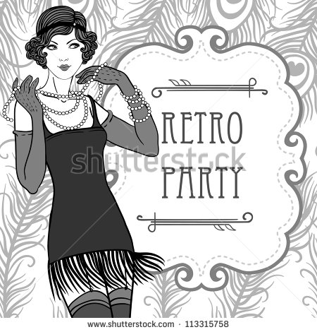Flapper Girls Set  Retro Party Invitation Design In 20 S Style   Stock