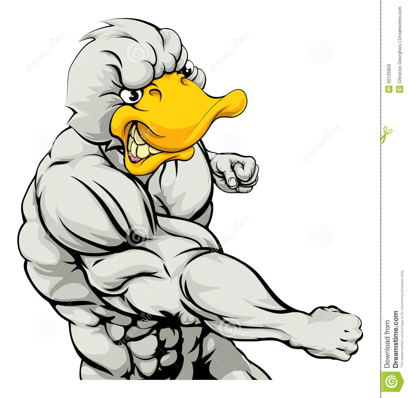 Mean Looking Duck Character Mascot Fighting And Punching With Fist