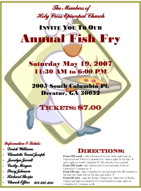 Pin Church Fish Fry Flyer Template On Pinterest #KYPEv1 - Clipart Kid
