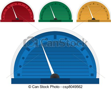 Speed Gauge   Speedometer In Four Colors Csp8049562   Search Clipart