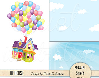 Disney Up House Up House Clip Art   Sky