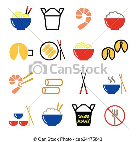 Eps Vector Of Chinese Take Away Food Icons   Past   Vector Icons Set