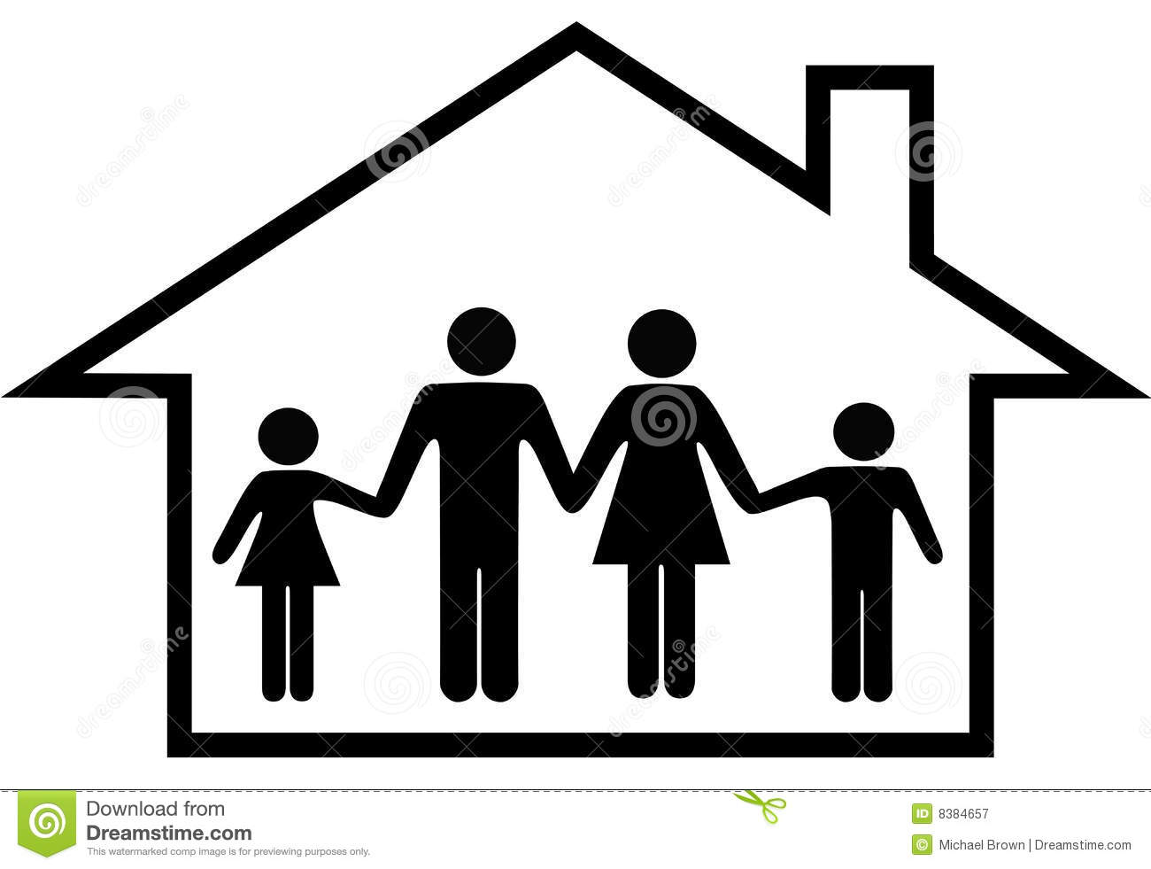 House Of Happy Family Parents Kids Safe At Home Royalty Free Stock