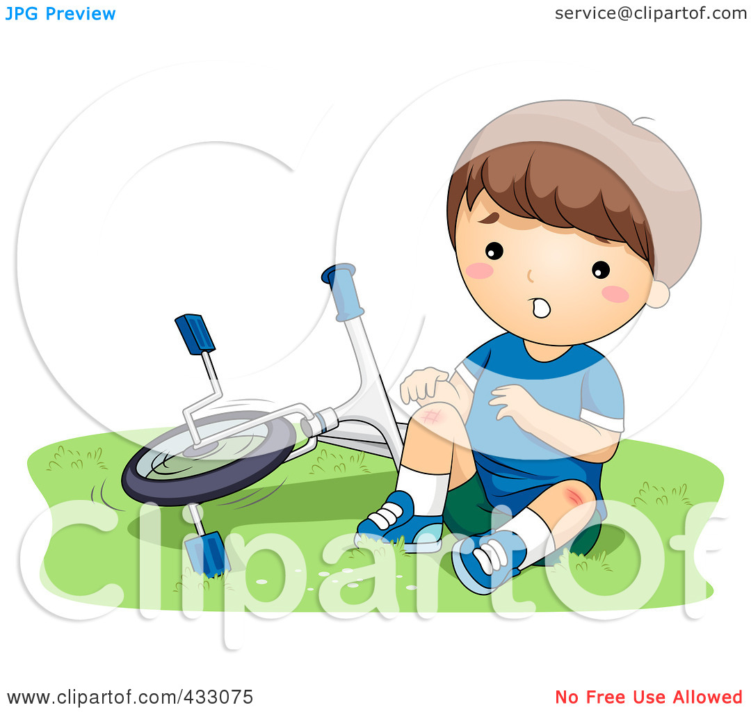 Royalty Free  Rf  Clipart Illustration Of A Boy With A Hurt Knee