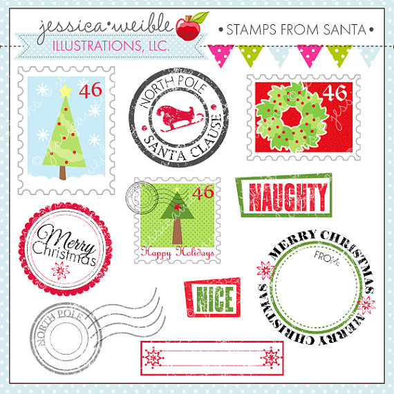 Santa Cute Digital Clipart   Commercial Use Ok  Postage Stamp Clipart