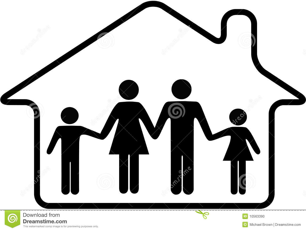 Stock Photo  House Family Parents Children Safe In Home