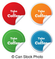 Take A Coffee Sign Icon Away Symbol Round Stickers Clipart