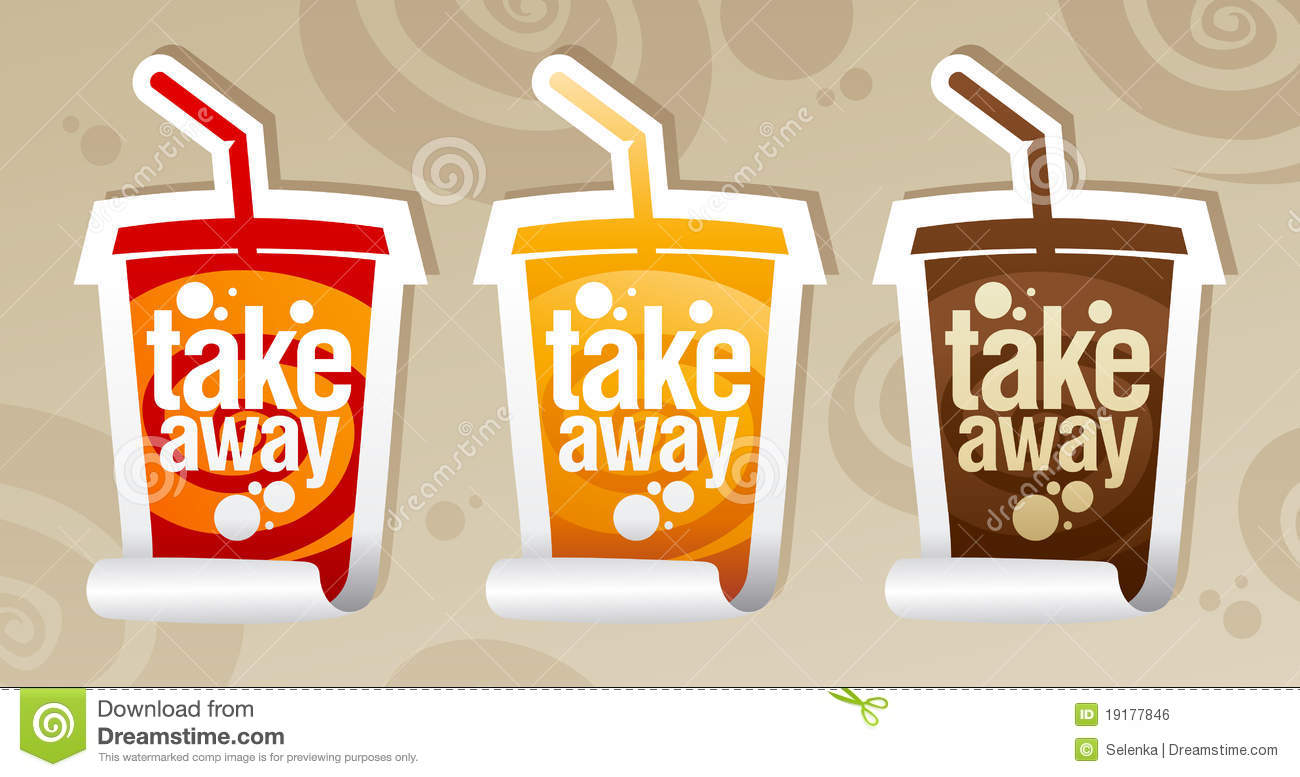 Take Away Stickers In Form Of Take Away Cup