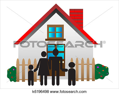 Traditional Family Mom Dad Boy Girl Safe At Home In Their 3d House