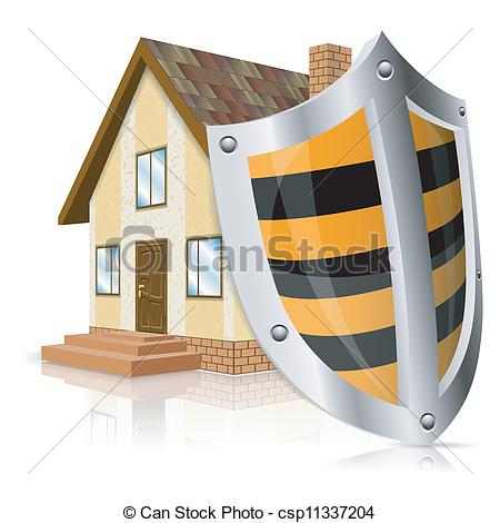 Vector Clipart Of Safe House Concept   Home Icon With Shield   Safe