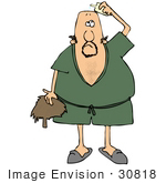 30818 Clip Art Graphic Of A Bald Caucasian Man In A Green Robe And