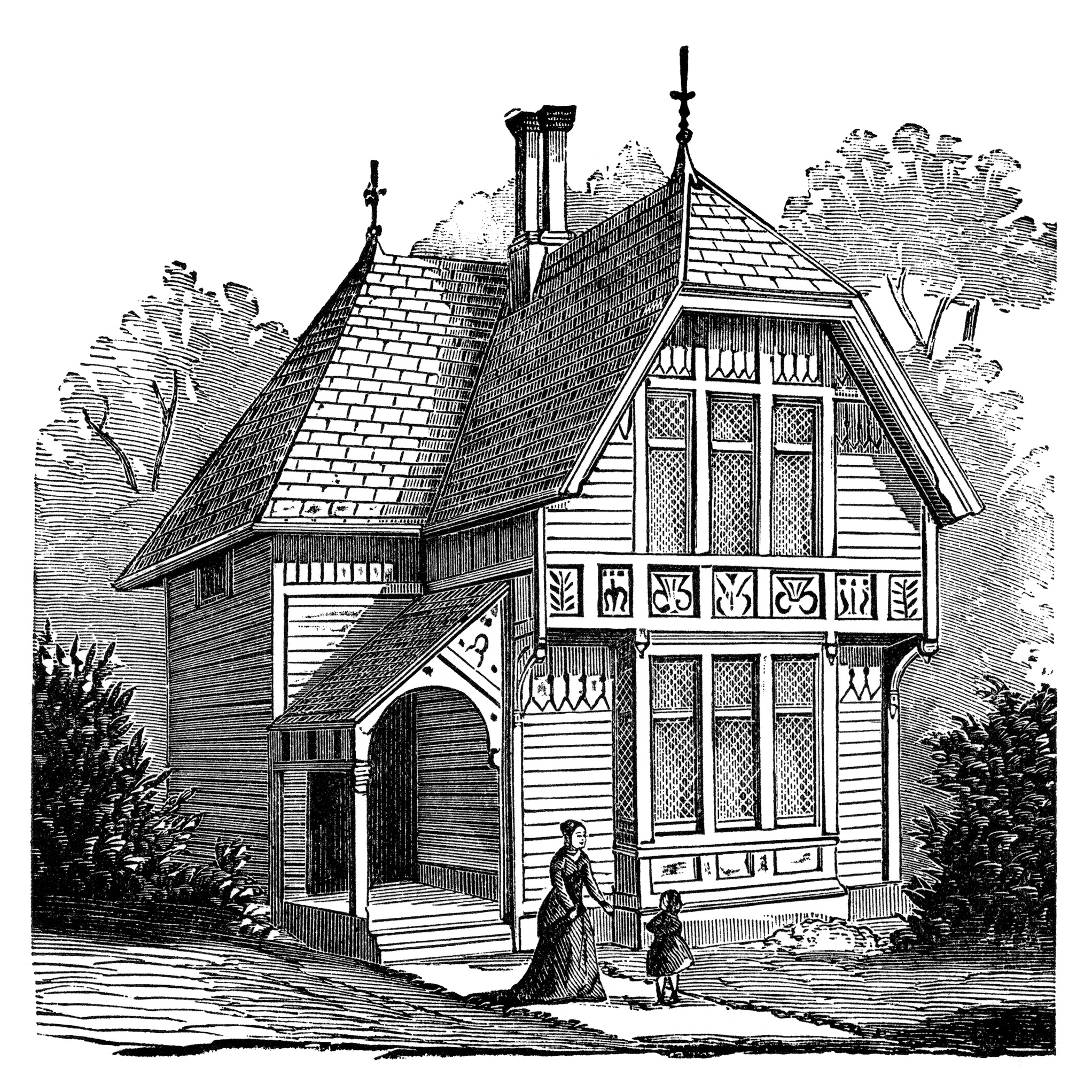 Antique House Illustration Black And White Clipart Victorian House
