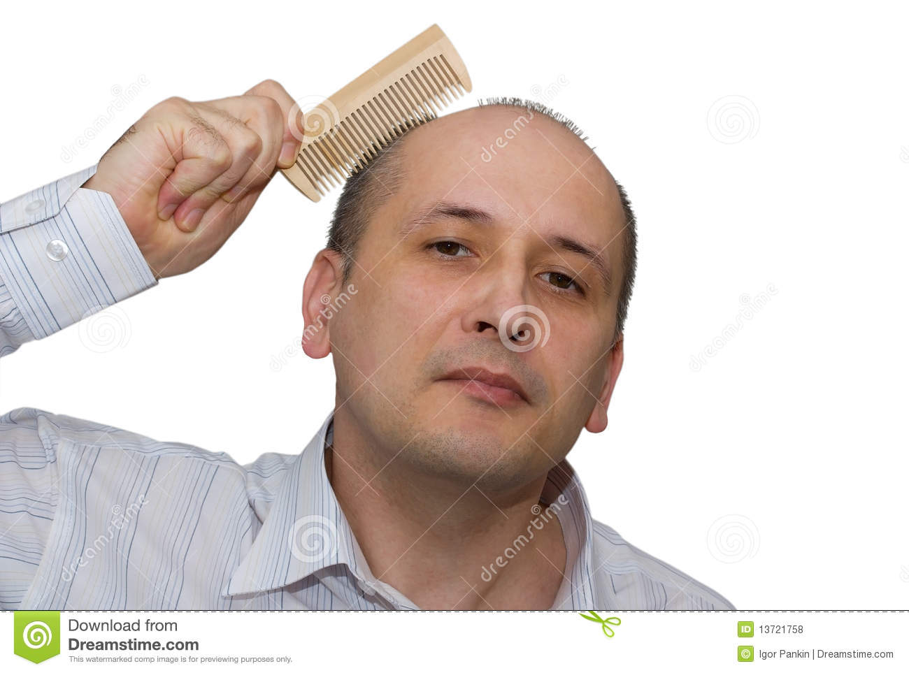 Bald Man Combs Hair Royalty Free Stock Photos   Image  13721758