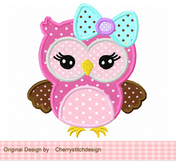 Cute Girly Owl With Bow Applique 4x4 5x7 By Cherrystitchdesign
