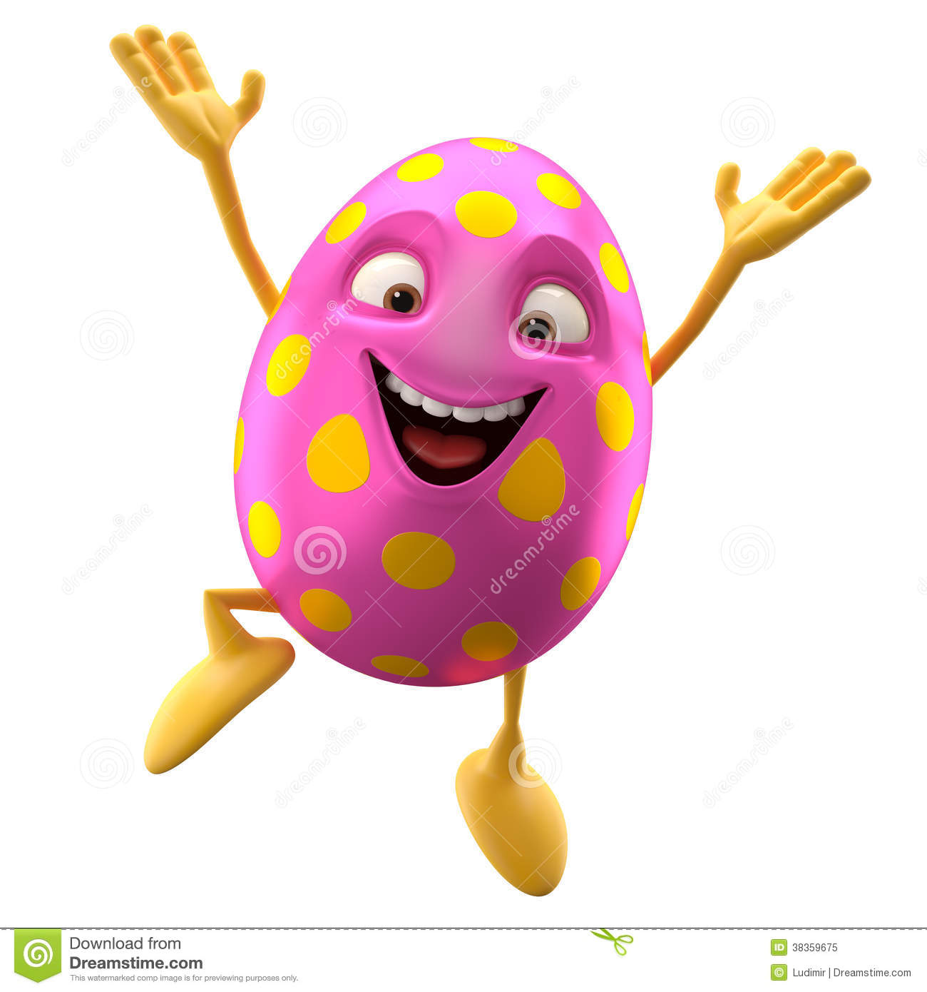 Smiling Easter Egg Funny 3d Cartoon Character Rejoicing Jump Royalty