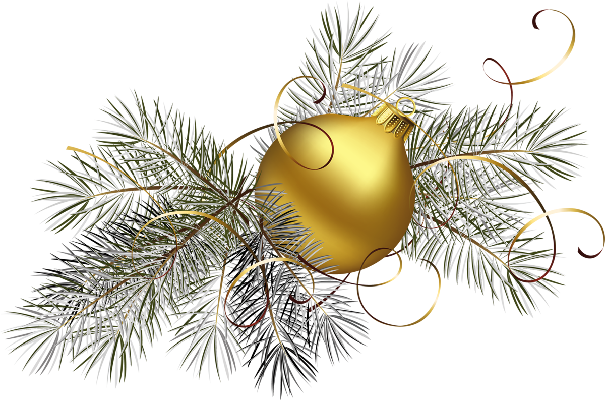 Transparent Gold Christmas Ball With Pine Png Clipart Picture Png