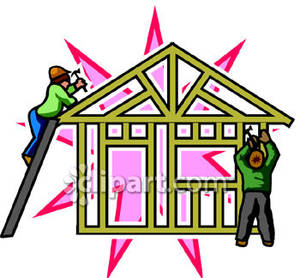 Two People Building The Frame Of A House   Royalty Free Clipart