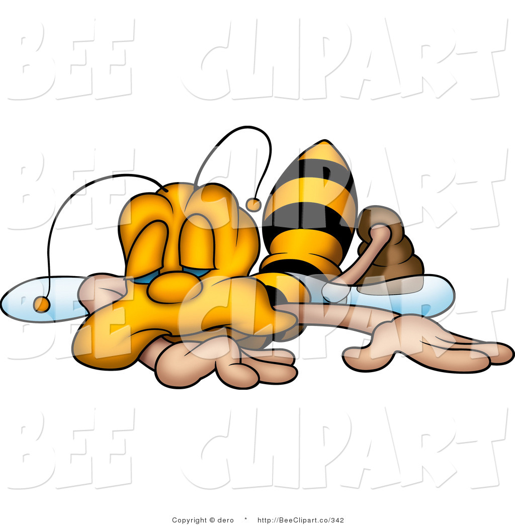 Clip Art Of An Exhausted Yellow Honeybee Collapsed And Falling Asleep