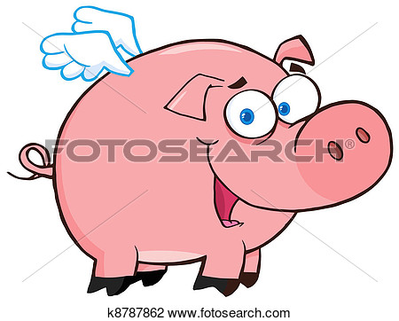 Clip Art Of Happy Pig Flying K8787862   Search Clipart Illustration