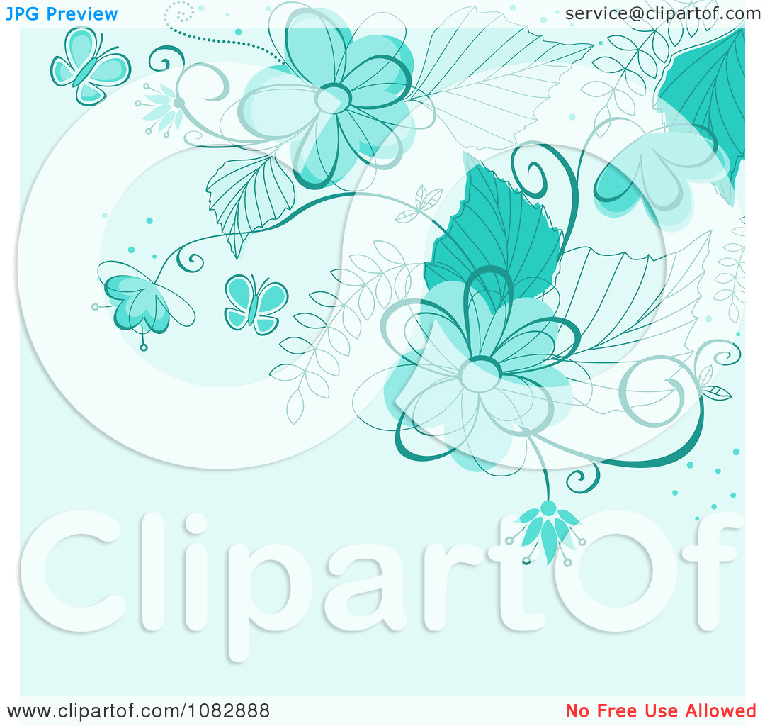 Clipart Blue Background With Turquoise Flowers Butterflies And