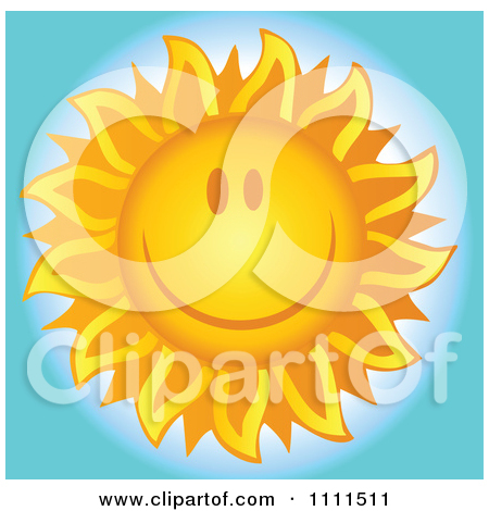 Clipart Cheerful Sun Grinning Over Blue   Royalty Free Vector