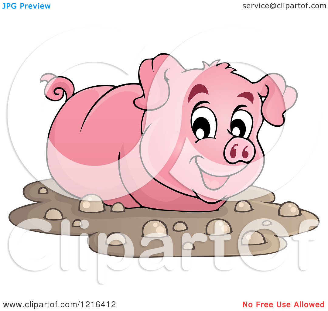 Clipart Of A Happy Pig Wading In Mud   Royalty Free Vector