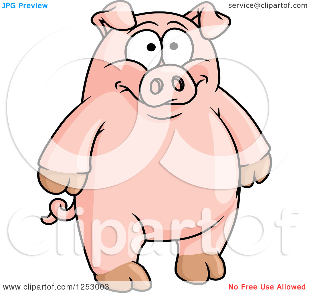 Clipart Of A Happy Standing Pig   Royalty Free Vector Illustration By