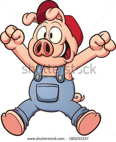 Happy Cartoon Pig Jumping  Vector Clip Art Illustration With Simple