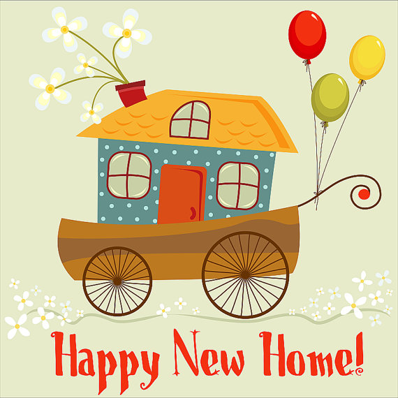 New House Clip Art Cute Happy New Home Card