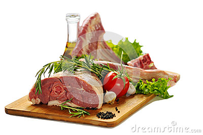 Raw Lamb Meat With Vegetables Isolated On White Background