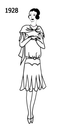 Sketch Of Woman Wearing A Dress With Godets Set In The Hem In 1928