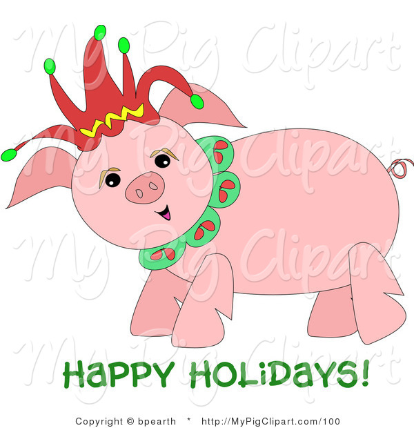 Swine Clipart Of A Happy Chubby Pig Wearing A Christmas Jester Hat