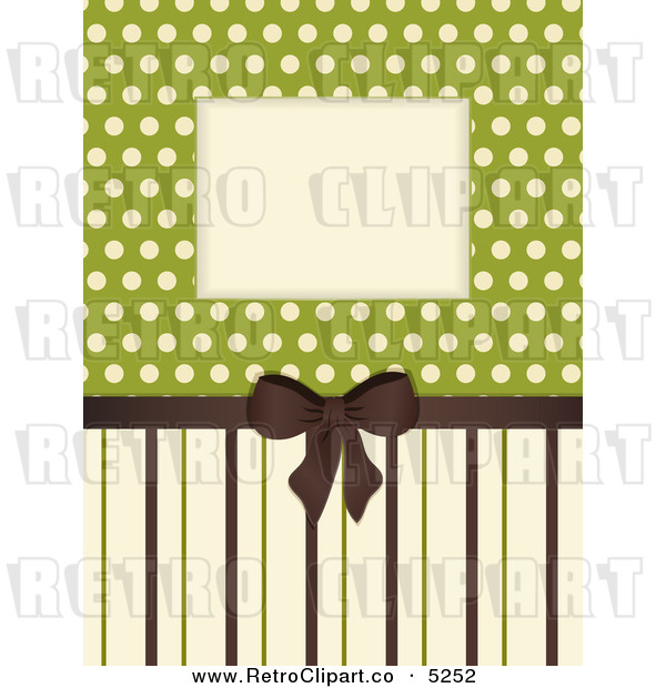 Vector Clipart Of A Retro Brown Tan And Green Stripe And Polka Dot