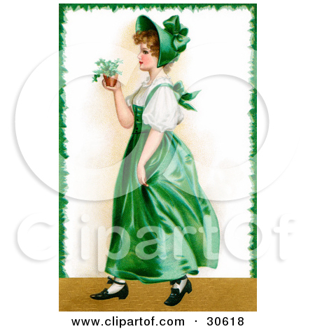 Victorian St Patricks Day Scene Of A Young Irish Lady In A Green Dress