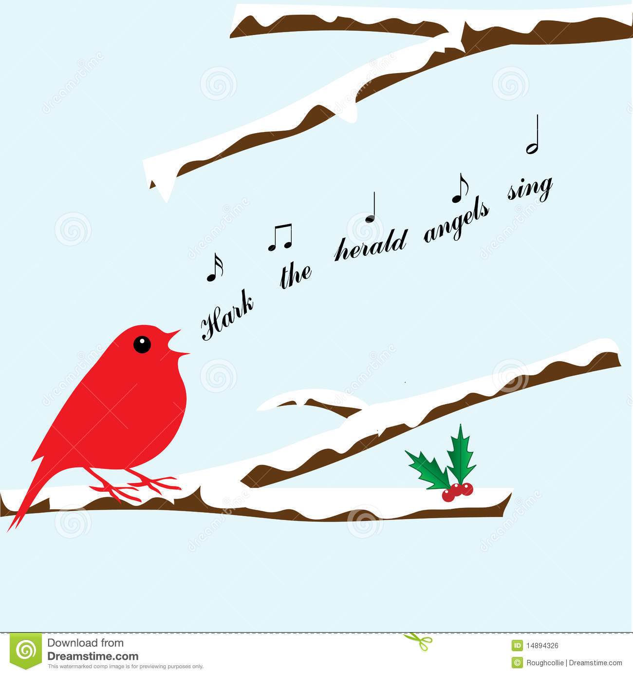Bird In Snow Covered Tree Singing Hark The Herald Angels Sing Clipart