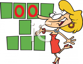 Cartoon Game Show Hostess   Royalty Free Clipart Image