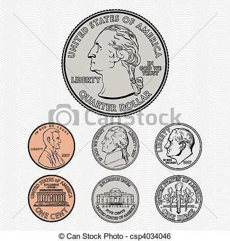 Clip Art Vector Of Vector Coins With Background   Vector Quarter Dime