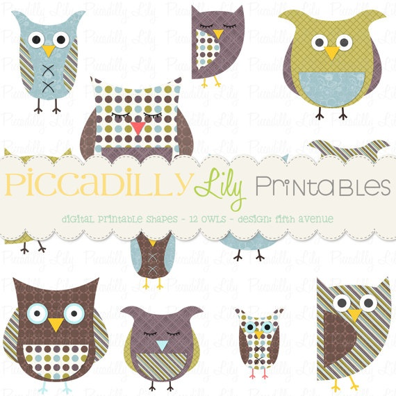 Fifth Avenue Owls Digital Printable Shapes Clip Art Brown Blue