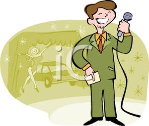 Game Show Host With A Microphone Clip Art Image