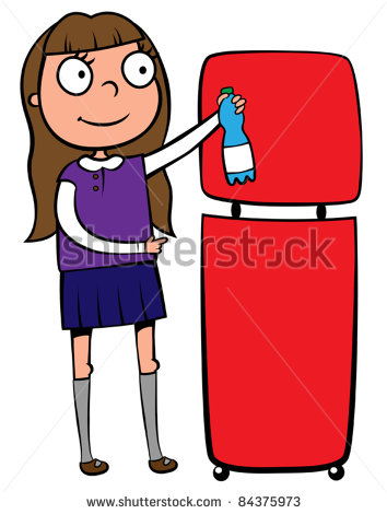 Girl Recycling A Plastic Bottle Vector Illustration Stock Clipart