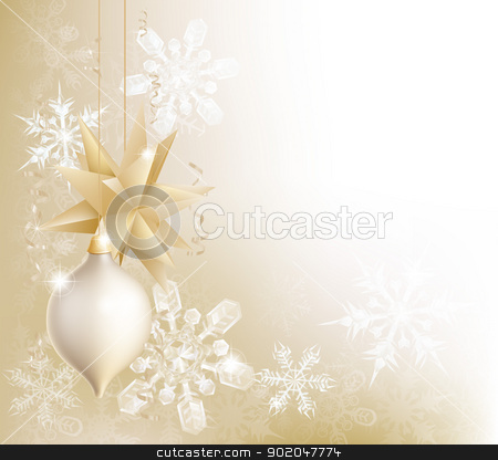 Gold Snowflake And Christmas Bauble Background Stock Vector Clipart A