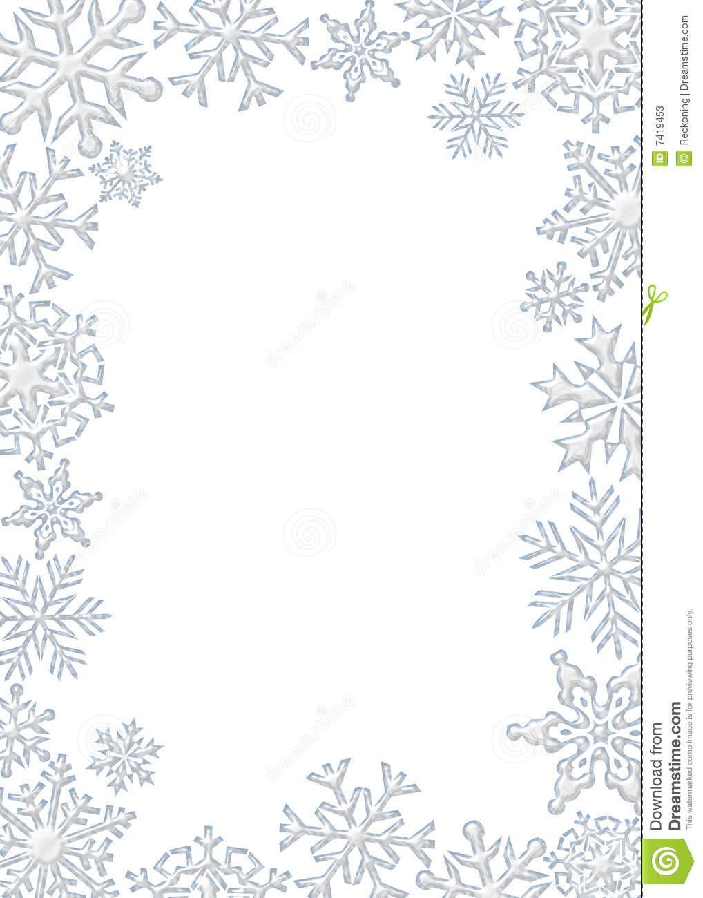 Graphic Illustration Of White Snowflake Border