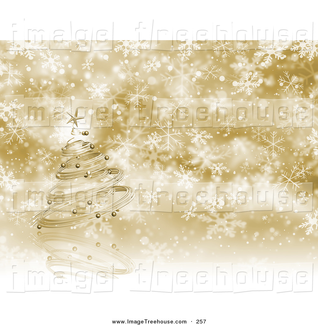 Larger Preview  Clipart Of A Metal Gold Christmas Tree With Ornaments