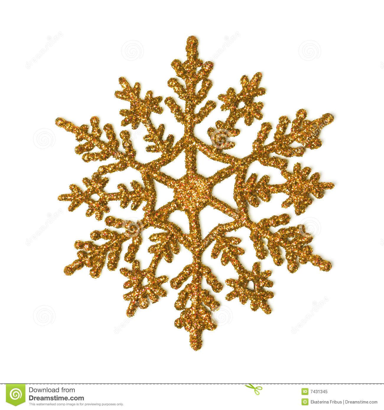 One Gold Glitter Snowflake Isolated On White
