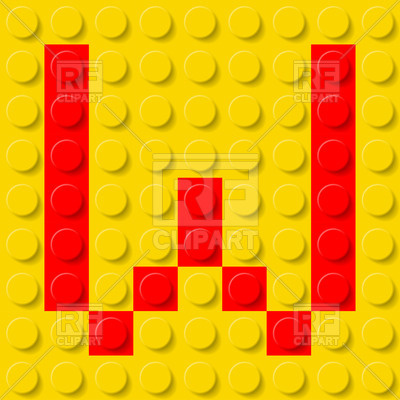 Red Letter W In Yellow Plastic Construction Kit Download Royalty Free