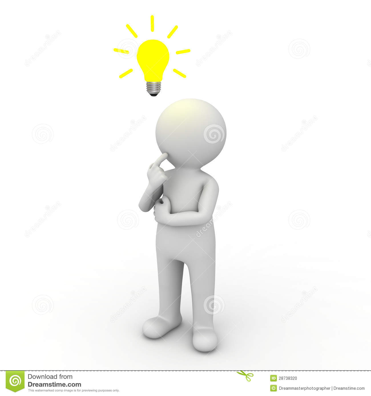 3d Man Thinking With Idea Bulb Above His Head Stock Photo   Image